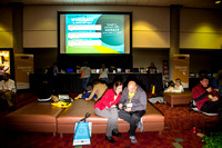 Andrew Nock & his wife looking over the agenda in the Internet Lounge at Imaging USA